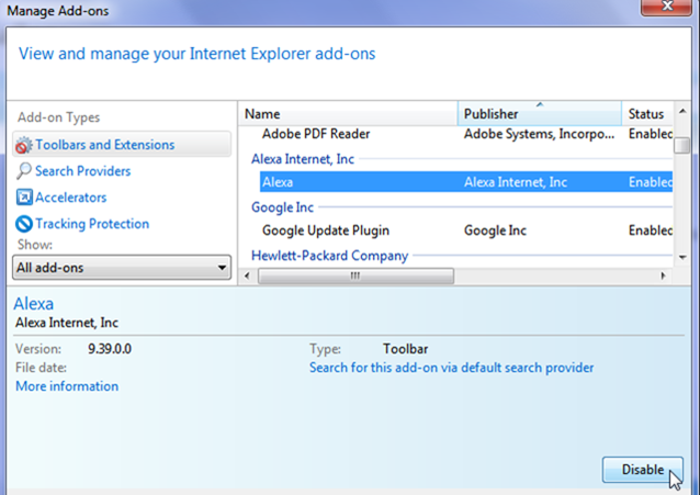How to Disable Add ons in Internet Explorer 9