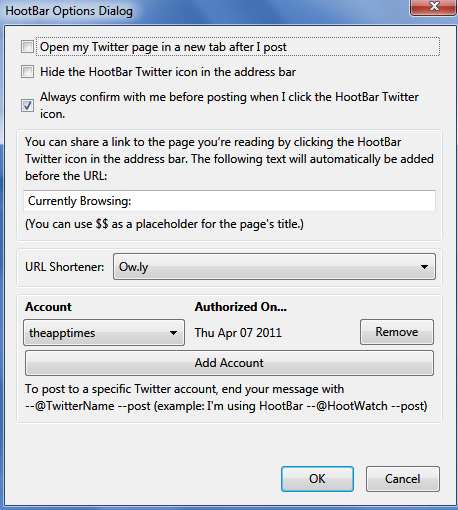 hootbar options dialog - How to Post Messages to Twitter