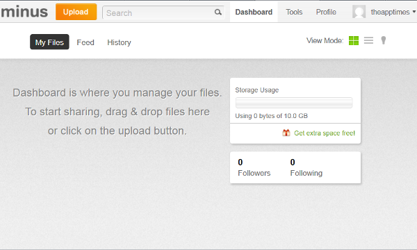 Free Online File Sharing Tool Minus Offers 10 GB Free Space