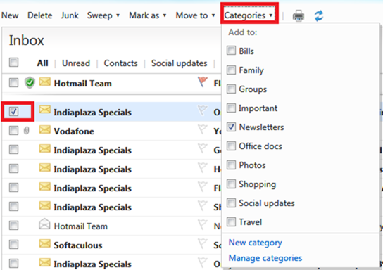 Categories in hotmail