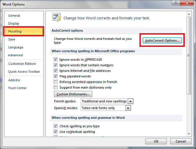 word options dialog box - Turn Off Automatic Hyperlinks
