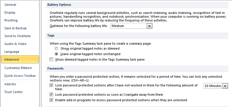 Customize Password Protection Settings in OneNote