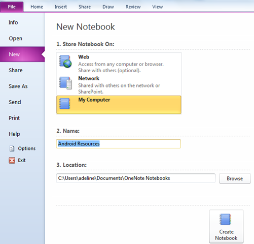 How to Create a Notebook in Microsoft OneNote 2010