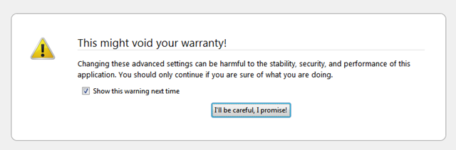 firefox warrany message