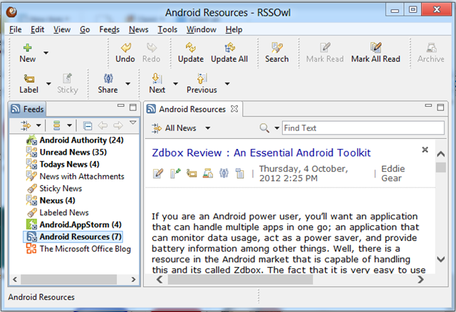 RSSOwl  - RSS Feed Reader for Windows 8