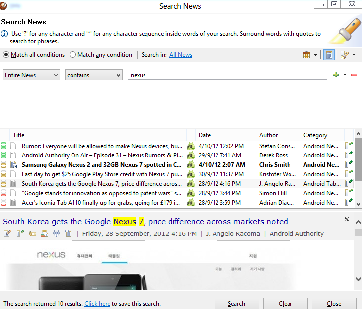 RSS Feed Reader for Windows 8  - Search