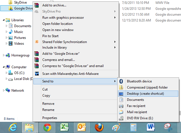 How to Add Google Drive to the Send to Menu in Windows 8