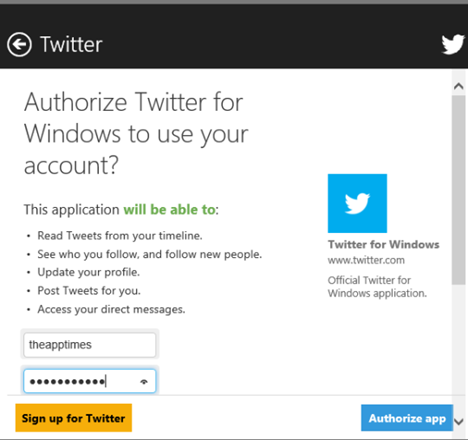 Windows 8 Twitter App Authorization