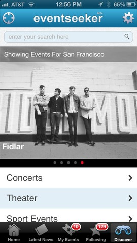 eventseeker for iOS: Discover Events in your Locality and Elsewhere
