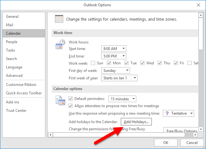 Outlook Options - Add Holidays