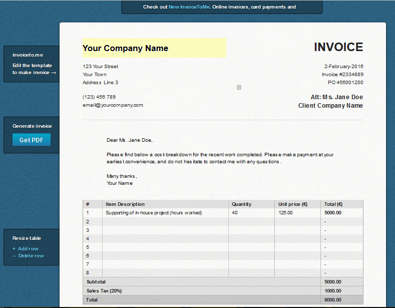 Free Invoice Generator Template Invoice to Me Review