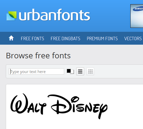 finding new fonts at urbanfonts