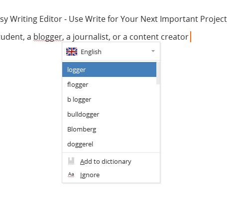 Spell check in the writing editor