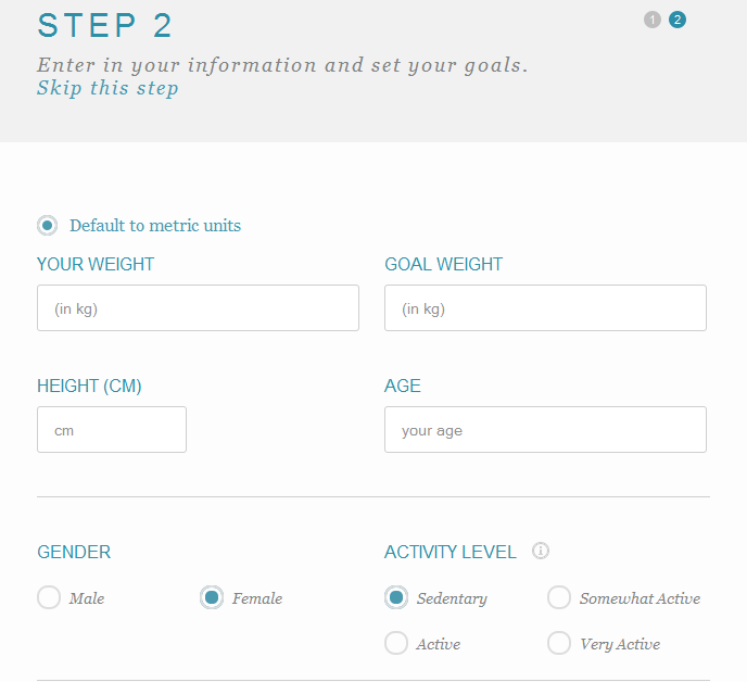 signing up to foodcount