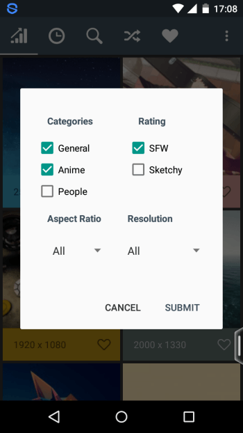 Filter options in Wally