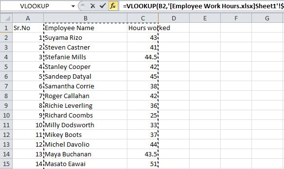 table array value