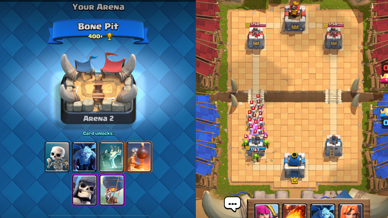 Clash Royale Cards in Arenas 2 to 7- Strength and Weakness