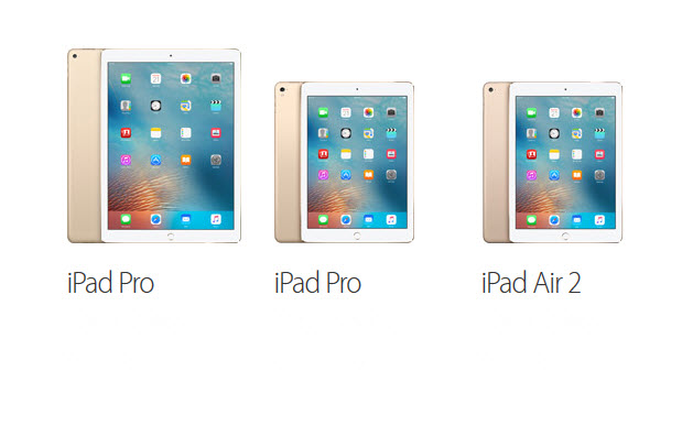 Comparing iPad Pro, New iPad Pro and Air 2