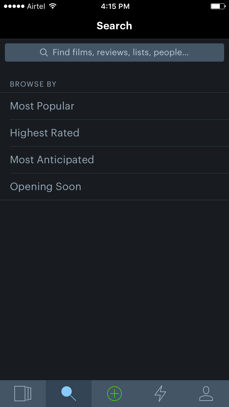 Search tab in Letterboxd