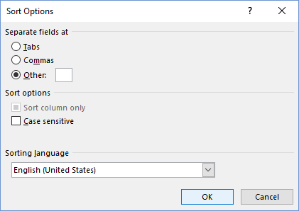 Sort Options dialog
