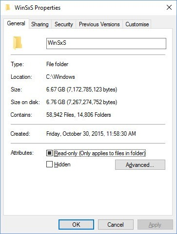 The WinSxS Folder Properties