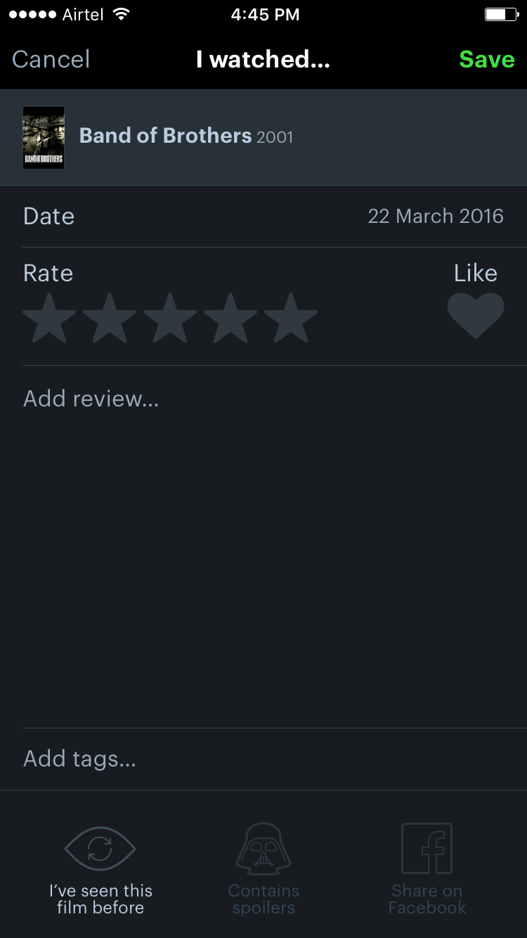 Writing a movie review in Letterboxd