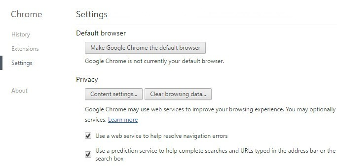 Chrome Content Settings