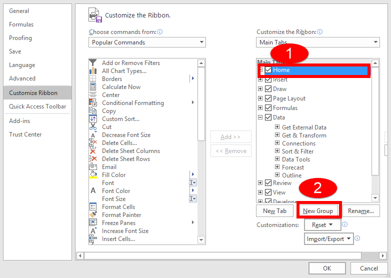 Create New Group in Excel