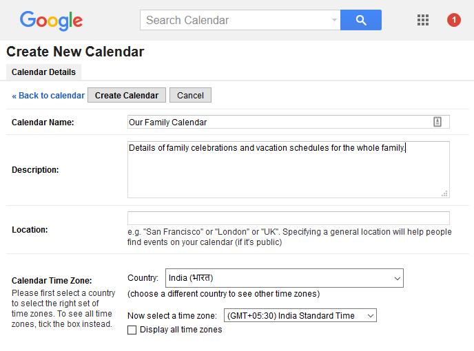 Entering details on the calendar