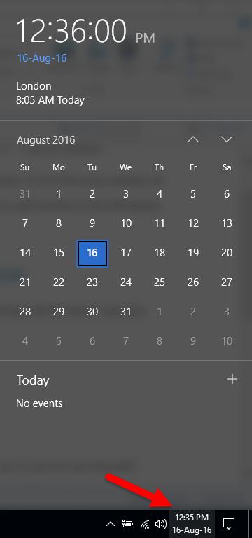 The Windows Calendar pane