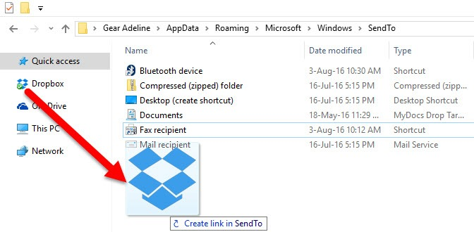 How to Add Dropbox to the Send to Menu in Windows 10