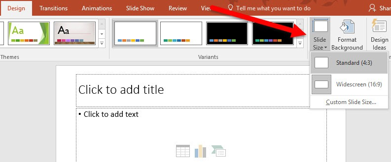 customize the slide size
