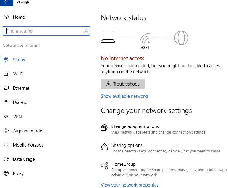 network status screen in windows 10