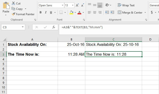 How to Combine Text with Time in Excel