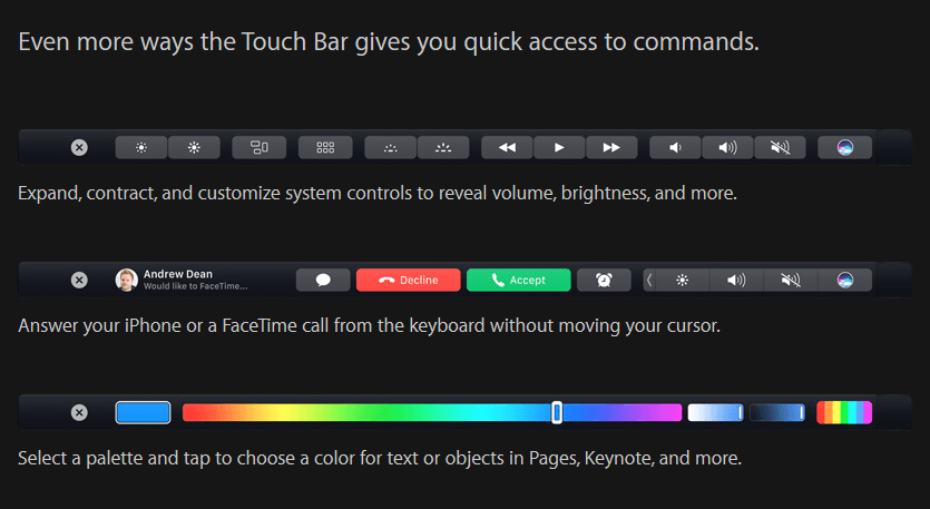 touch bar options