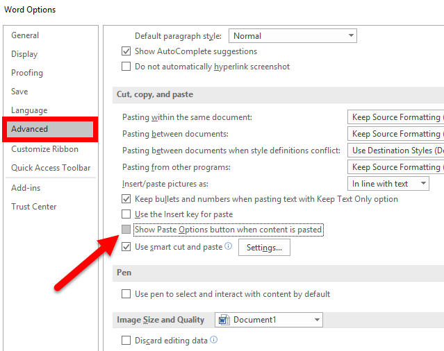 How to Get Rid of the Paste Options Menu in Word, Excel and PPT
