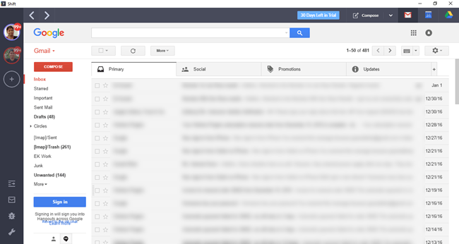 Gmail in Shift