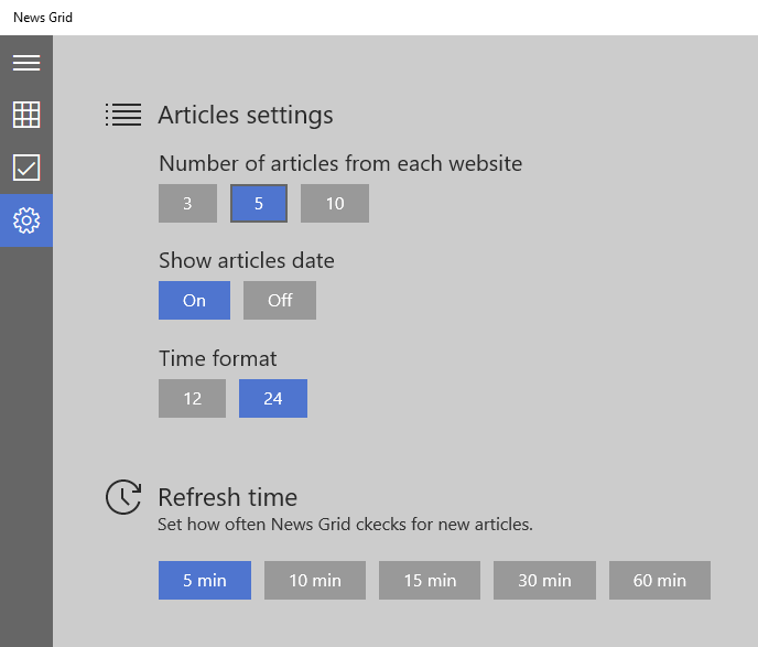 News Grid Settings