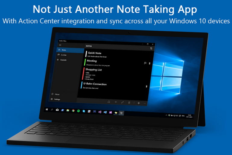 Take Notes from the Action Center with Action Note App for Windows 10