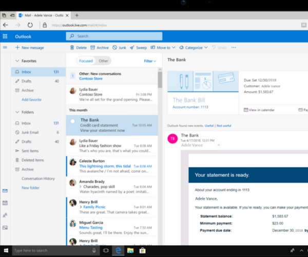 Bill Payment Reminders - New Outlook Features