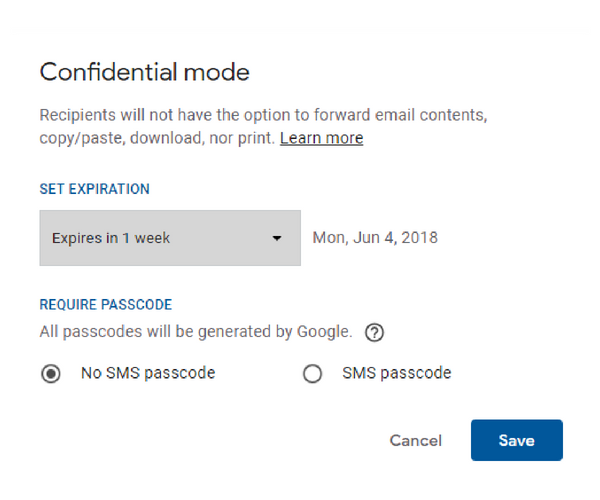 Gmail Confidential Mode settings