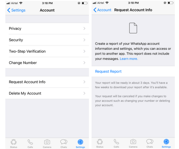 How To Request Your WhatsApp Data on iPhone and Export It