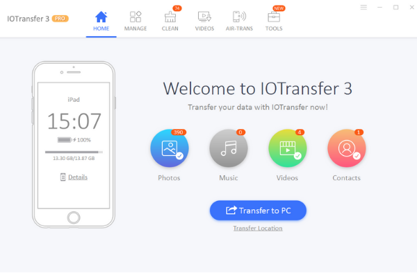 IOTransfer 3 Home screen
