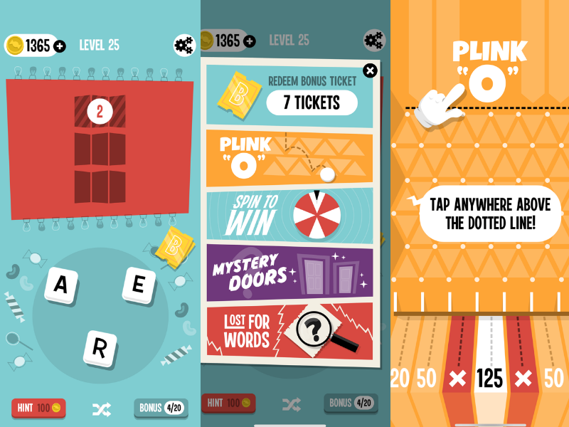 CandyWords game screens