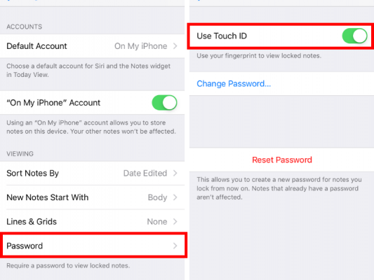 use touch ID
