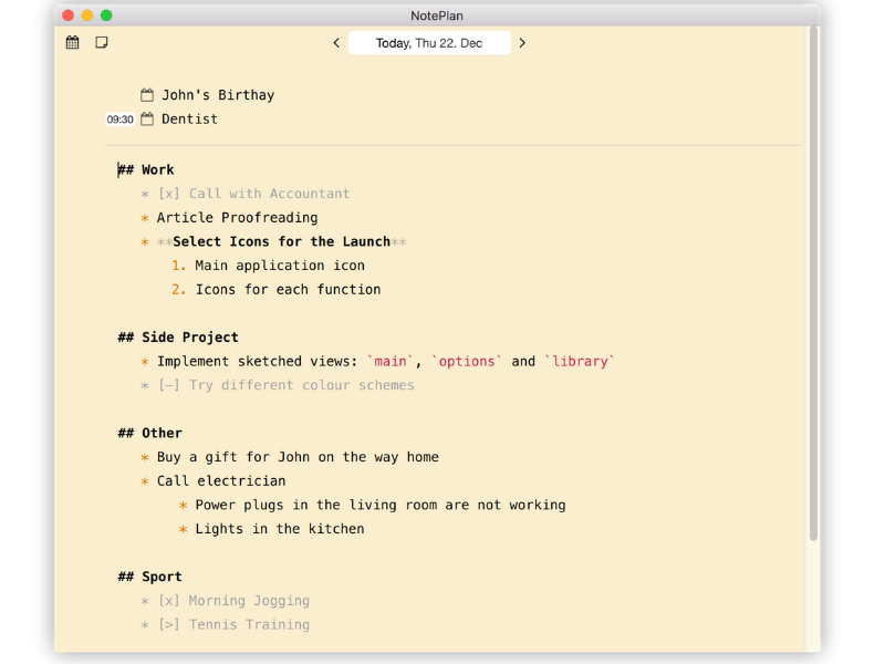 NotePlan for Mac - Notes View