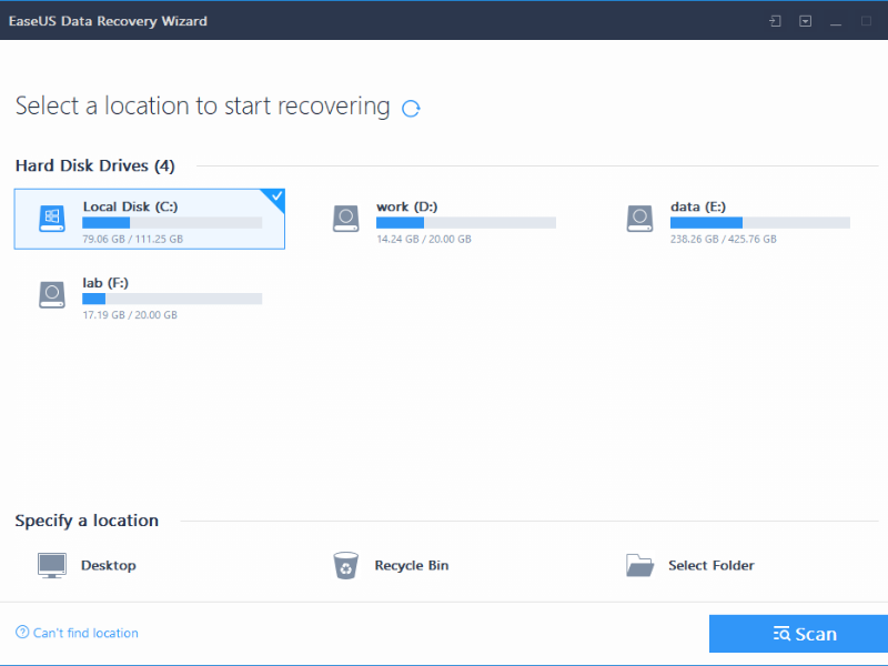 EaseUS Data Recovery Wizard Free 12.9.1 UI