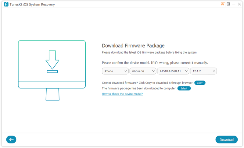 TunesKit iOS System Recovery Firmware downloads