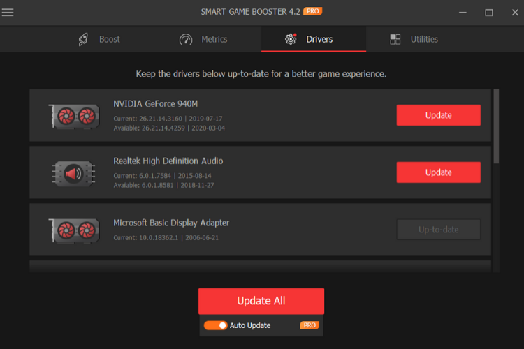 Smart Game Booster Auto Driver Update