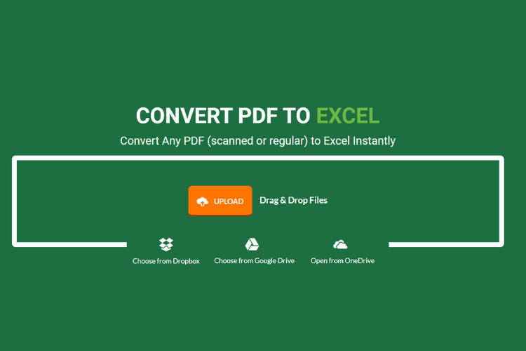 PDF to Excel Conversion - Upload files